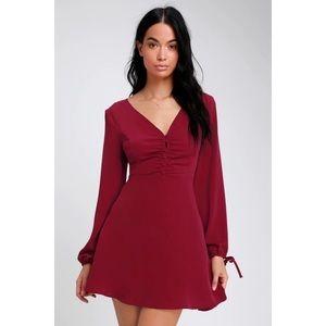 Lulu's Keep A Secret Red Long Sleeve Skater Dress
